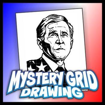 Mystery Grid Drawing President 43 George W. Bush