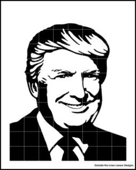 Mystery Grid Drawing President 45 Donald J. Trump