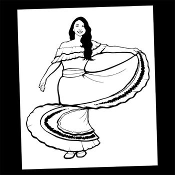 Mystery Grid Drawing Traditional Mexican Dancer Tpt