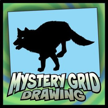 Mystery Grid Drawing - Running Wolf Silhouette