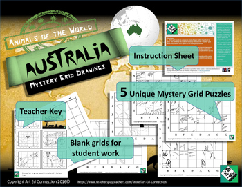 Mystery Grid Drawings Animals of the World AUSTRALIA! Printables / Sub Plans!