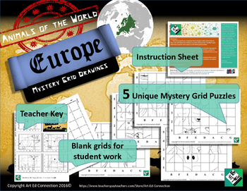 Mystery Grid Drawings: Animals of the World EUROPE! Printables. Great Sub Plans!