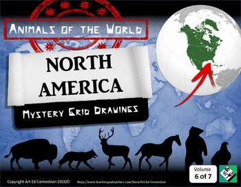 Mystery Grid Drawings: Animals of the World NORTH AMERICA! Printables/Sub Plans!