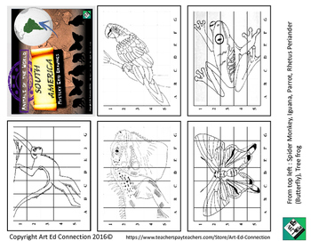 Mystery Grid Drawings: Animals of the World SOUTH AMERICA! Printables/Sub Plans!