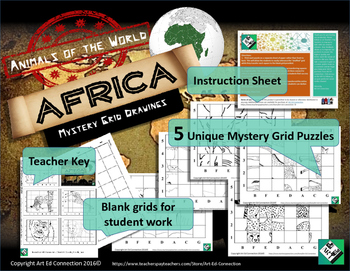 Mystery Grid Puzzles: Animals of the World AFRICA Printables! Great Sub Plans!