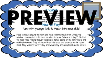 Mystery Inference Windows: Inferencing skills/ Main Idea