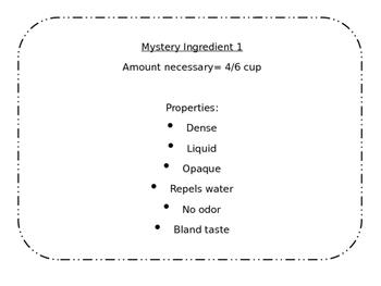 Mystery Ingredients -Properties of Sugar Cookies