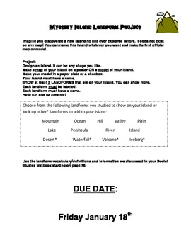 Mystery Island Project Instructions - Landforms