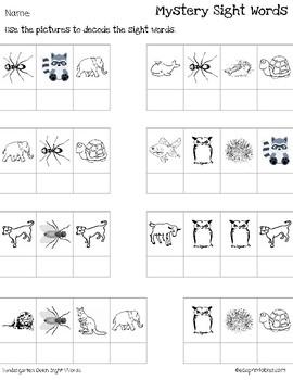 Mystery Kindergarten Dolch Sight Words - Animal Edition