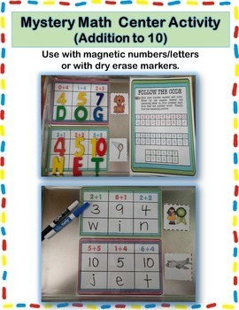 Addition to 10 Activity Center {Mystery Math}