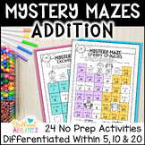 Mystery Math Mazes: Addition within 10 & within 20 NO PREP Printables BUNDLE