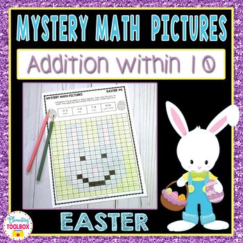 Mystery Math Pictures Easter Addition within 10 (Color by Number)