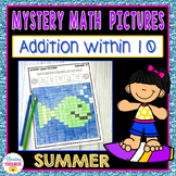 Mystery Math Pictures Summer Addition within 10 (Color by Number)