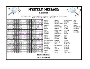 Mystery Messages - Health and Wellness