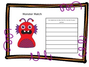 Mystery Monster fun with Adjectives