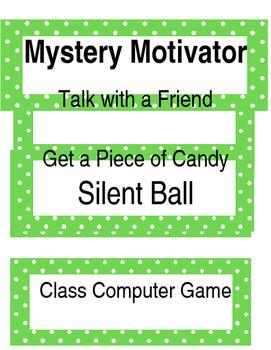 Mystery Motivator Whole Class Rewards