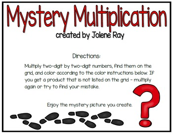 Mystery Multiplication: 2 digit times 2 digit: TEKS 4.4D and CCSS 4.NBT.B.5