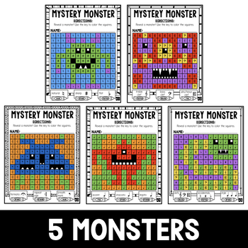Mystery Music Grids- Monsters (Clefs/Accidentals/Symbols)