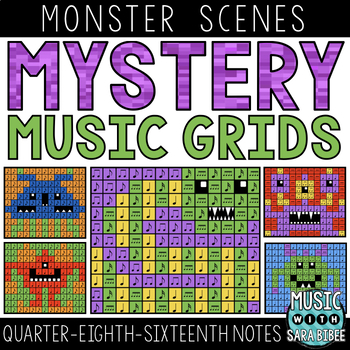 Mystery Music Grids- Monsters (Quarter/Eighth/Sixteenth Note Values)
