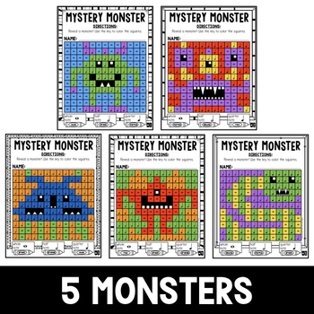 Mystery Music Grids- Monsters (Whole/Half/Quarter Note Values)