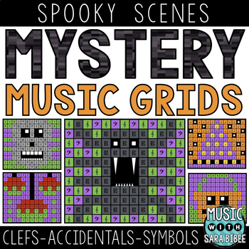 Mystery Music Grids- Spooky Scenes (Clefs/Accidentals/Symbols)