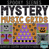Mystery Music Grids- Spooky Scenes (Quarter/Eighth/Sixteenth Notes)