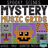 Mystery Music Grids- Spooky Scenes (Whole/Half/Quarter Note Values)