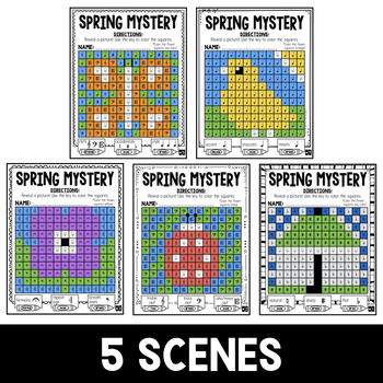 Mystery Music Grids- Spring Scenes (Clefs/Accidentals/Symbols)