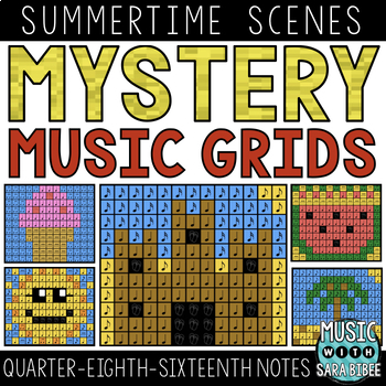 Mystery Music Grids- Summer Scenes (Quarter/Eighth/Sixteenth Notes)