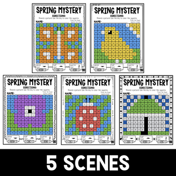 Mystery Music Grids- Spring Scenes (Whole/Half/Quarter Rest Values)