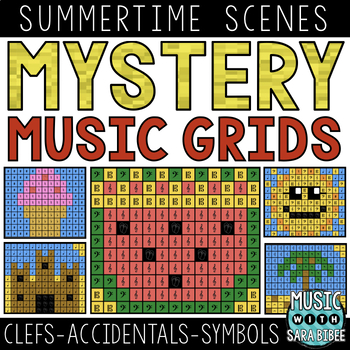 Mystery Music Grids- Summer Scenes (Clefs/Accidentals/Symbols)
