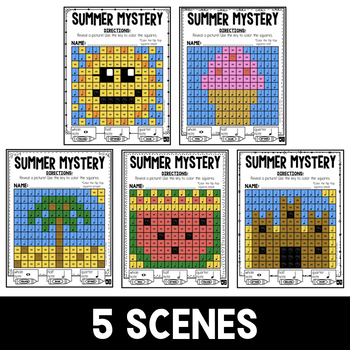 Mystery Music Grids- Summer Scenes (Whole/Half/Quarter Note Values)