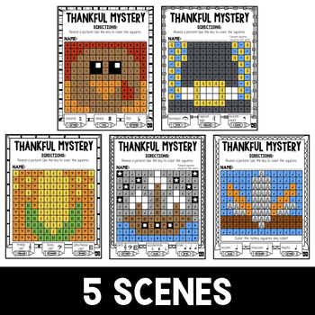 Mystery Music Grids- Thanksgiving Scenes (Clefs/Accidentals/Symbols)