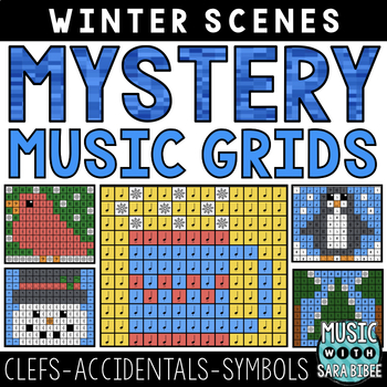 Mystery Music Grids- Winter Scenes (Clefs/Accidentals/Symbols)