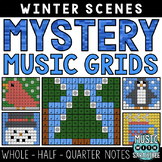 Mystery Music Grids- Winter Scenes (Whole/Half/Quarter Note Values)