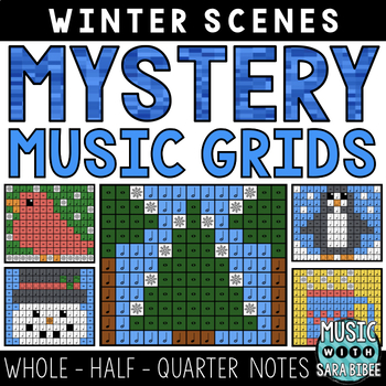 Mystery Music Grids- Winter Scenes (Whole/Half/Quarter Note Values)