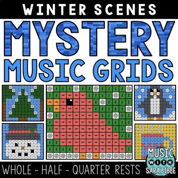 Mystery Music Grids- Winter Scenes (Whole/Half/Quarter Rest Values)