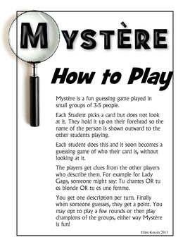 Mystery (Mystère) French Game