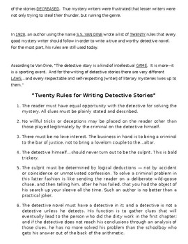 Mystery Novel Fill-In Notes