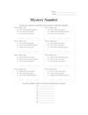 Mystery Number - 3 Digit Numbers