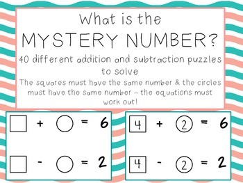 Mystery Number - 40 different math puzzles