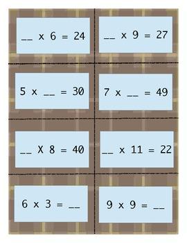 Mystery Number Bingo Multiplication