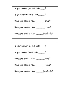Mystery Number Conversation Cards
