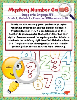 Mystery Number Game for Engage NY/ Grade 1, Module 1 Sums and Differences to 10