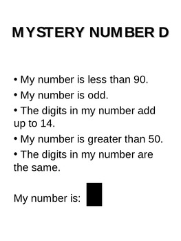 Mystery Number - Guess the number