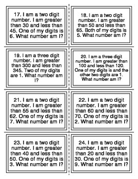 Mystery Number Place Value Task Cards (Level 1)