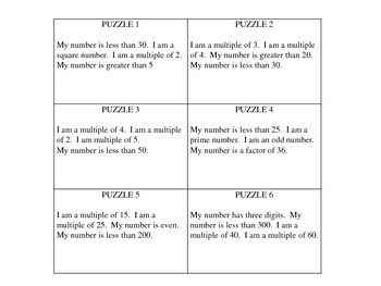 Mystery Number Puzzle Task Cards