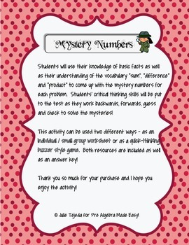Mystery Numbers!