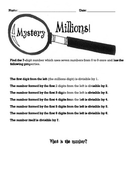 Mystery Numbers Division Challenge- Enrichment