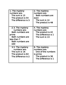 Mystery Numbers Task Cards